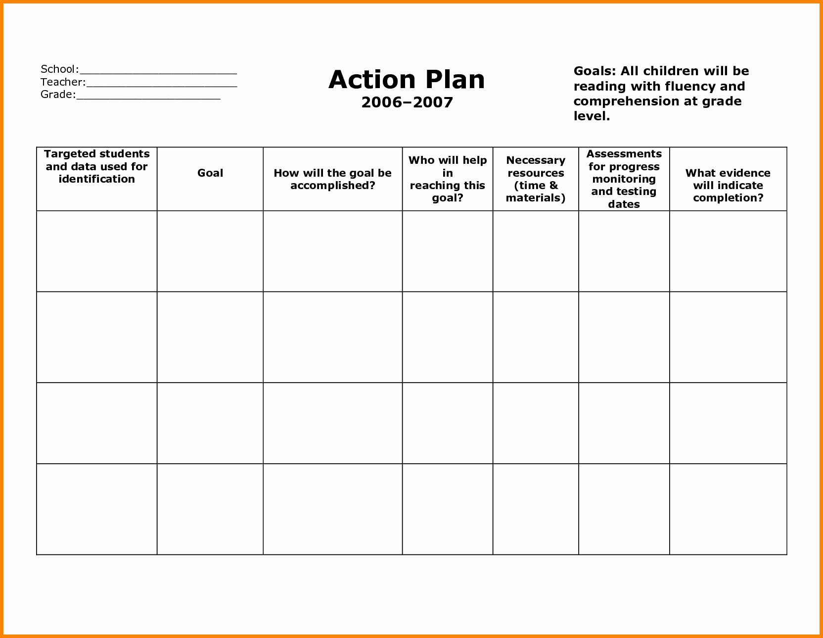 Action Plan Template for Students Elegant Stunning General Action Plan Template Word Examples Thogati