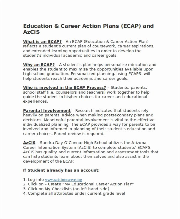Action Plan Template for Students Inspirational Career Action Plan Template 14 Free Sample Example format Download