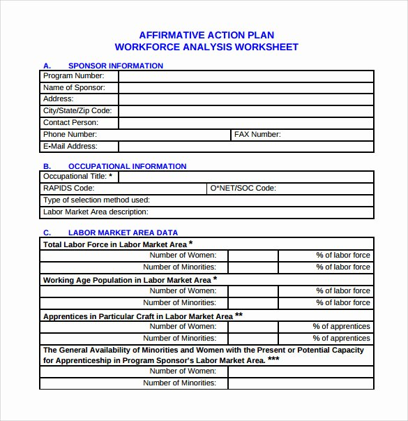 Affirmative Action Plan Template Awesome Sample Affirmative Action Plan 9 Documents In Pdf Word