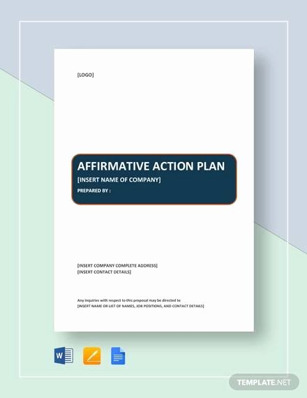 Affirmative Action Plan Template Fresh Sample Affirmative Action Plan 9 Examples In Word Pdf