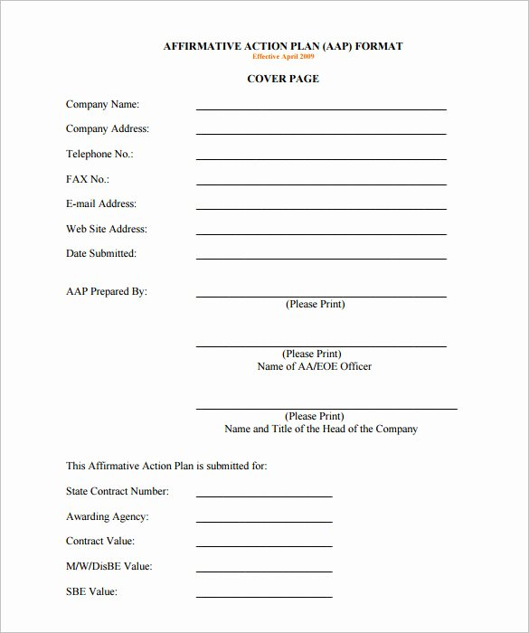 Affirmative Action Plan Template New Affirmative Action Plan Template 5 Free Word Excel Pdf format Download