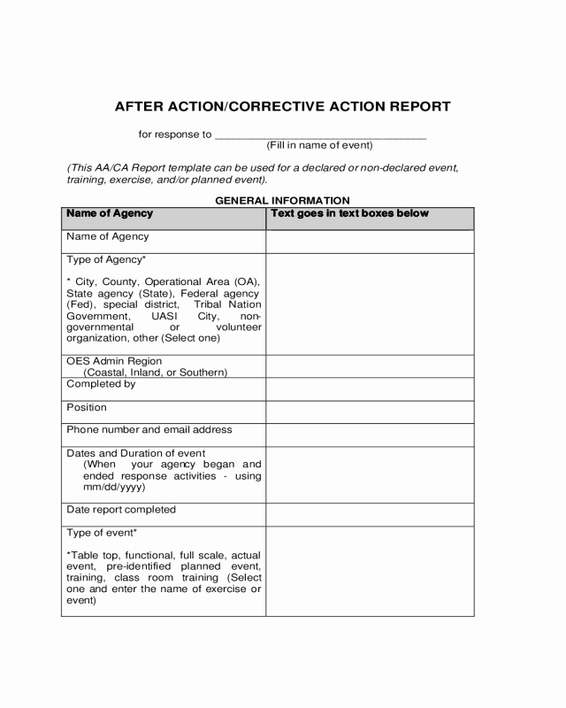 After Action Report Template Best Of after Action and Corrective Action Report Template Edit Fill Sign Line
