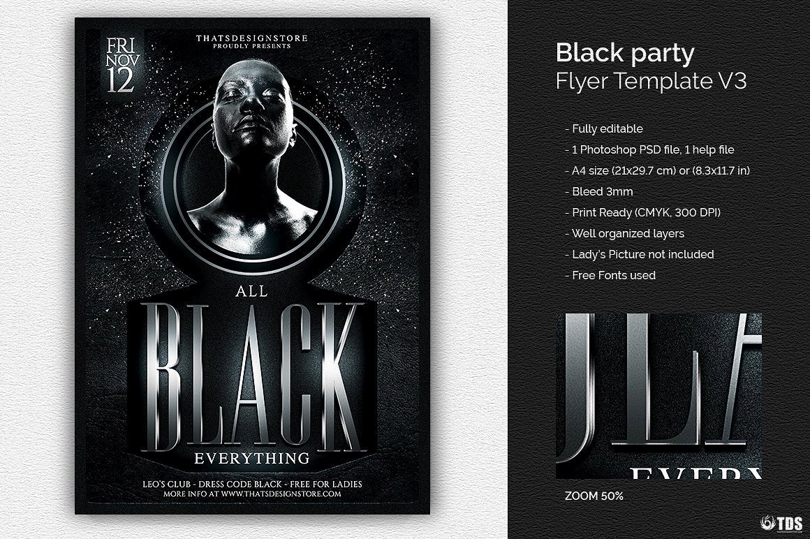 All Black Party Flyer Awesome Black Party Flyer Template V3