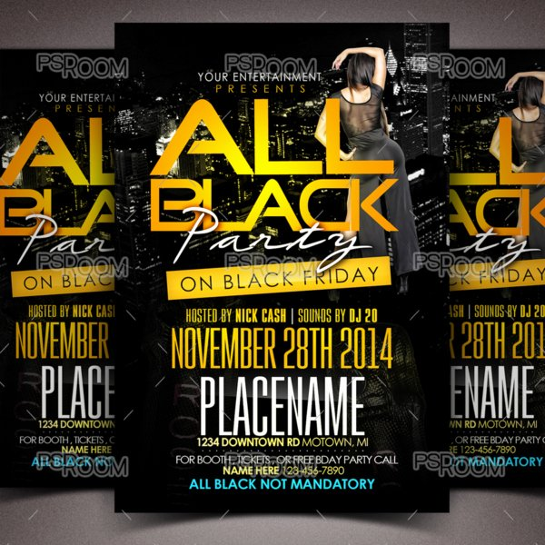 All Black Party Flyer Beautiful All Black Party Flyer – Psd Room