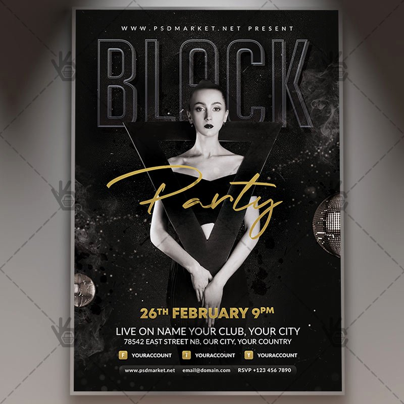 All Black Party Flyer Best Of Download Black Night Party Flyer Psd Template