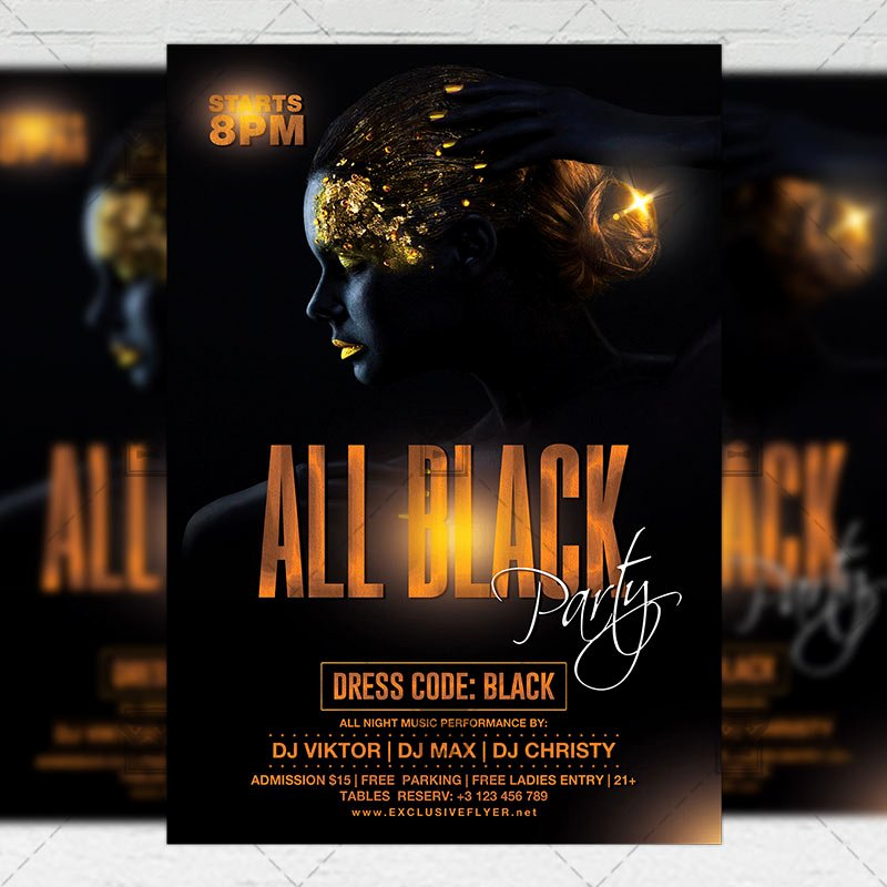 All Black Party Flyer Elegant All Black Night Party Flyer – Club A5 Template Exclsiveflyer