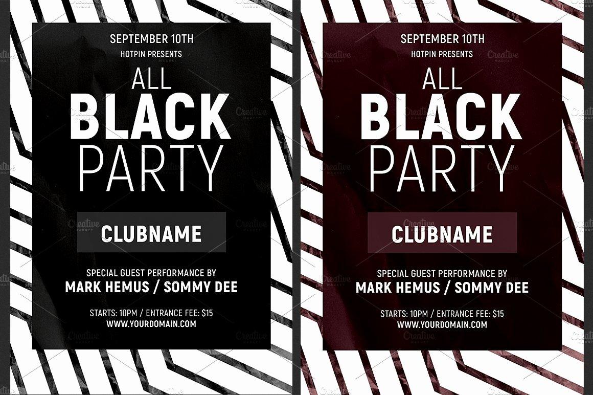 All Black Party Flyer Elegant All Black Party Flyer Template Flyer Templates Creative Market