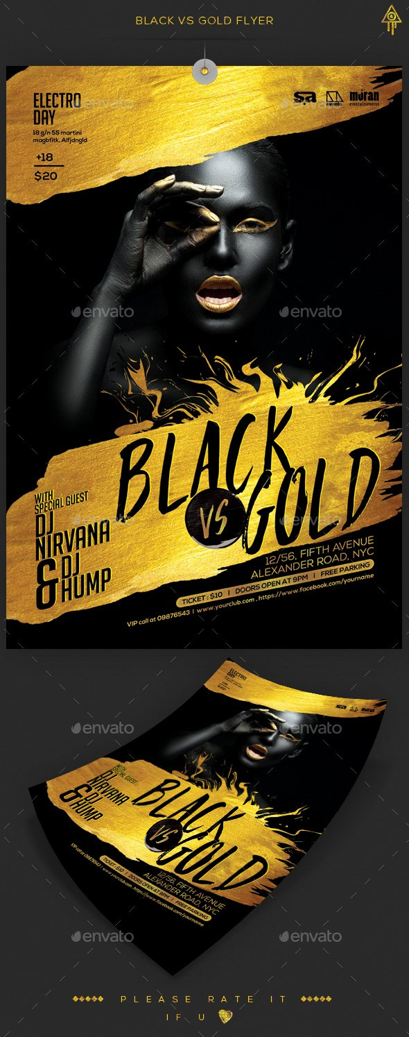 All Black Party Flyer Inspirational Black & Gold Party Flyer by Crea