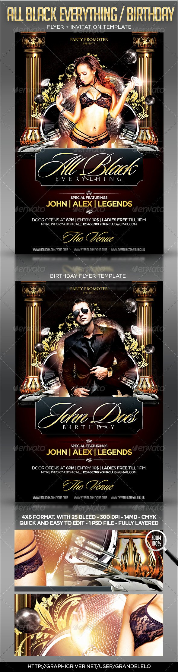 All Black Party Flyer Unique All Black Birthday Party Flyer Template by Grandelelo