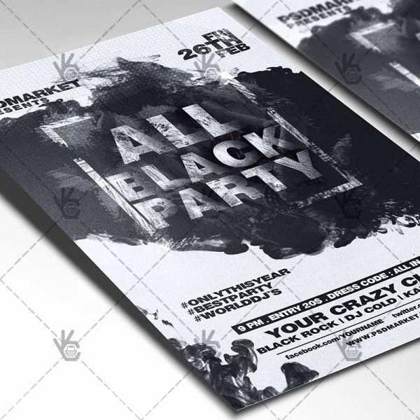 all black party club flyer psd template