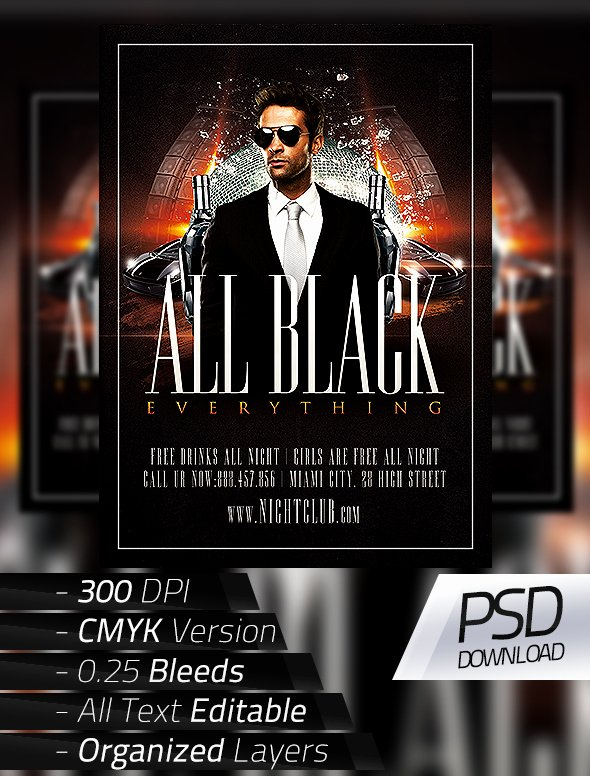All Black Party Flyer Unique All Black Party Flyer On Behance