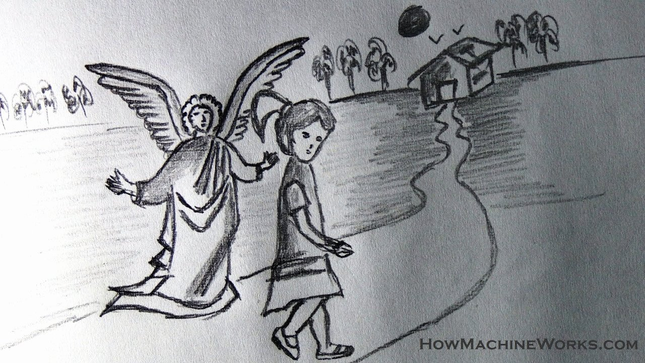 Angel Pictures to Draw Luxury How to Draw A Guardian Angel Protecting You Kids Drawing