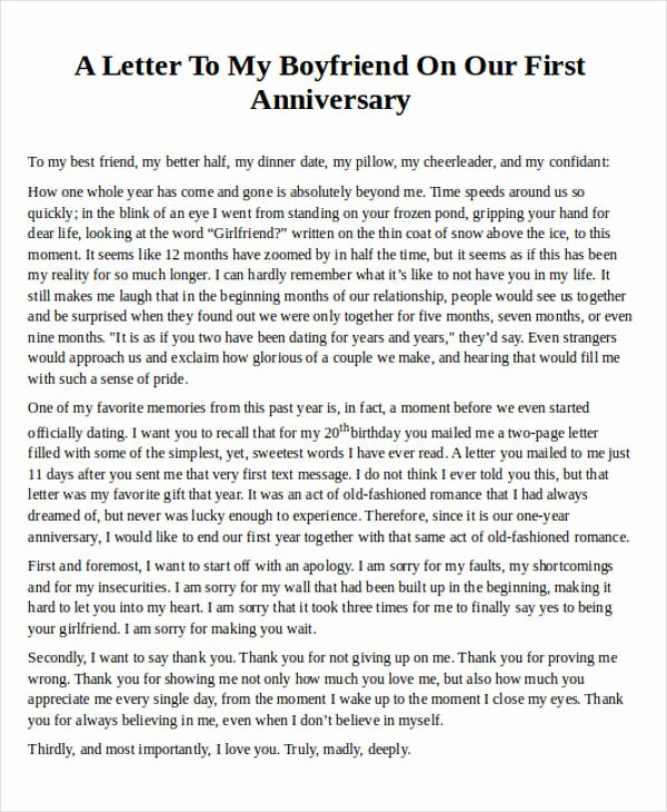 Anniversary Letter for Boyfriend Lovely Love Letter Examples