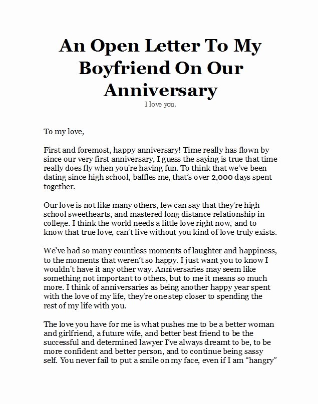 Anniversary Letter for Boyfriend New 50 Romantic Anniversary Letters for Him or Her Template Lab