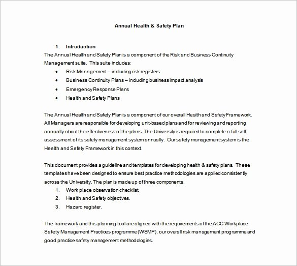 Annual Work Plan Template Fresh 13 Health and Safety Plan Templates Google Docs Ms Word Apple Pages