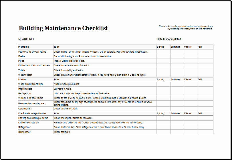 Apartment Maintenance Checklist Template Beautiful 7 Facility Maintenance Checklist Templates Excel Templates