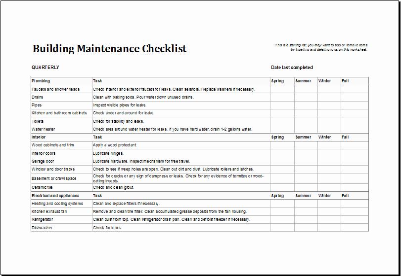 Apartment Maintenance Checklist Template Beautiful 7 Facility Maintenance Checklist Templates Excel Templates