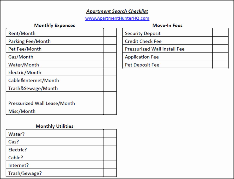 Apartment Maintenance Checklist Template Best Of Apartment Search Checklist