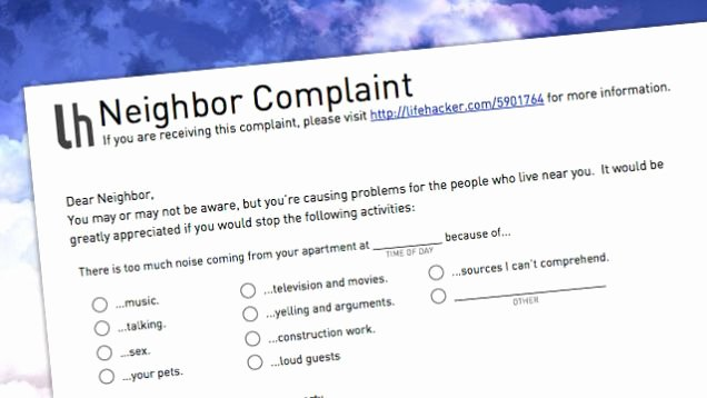 Apartment Noise Complaint Letter Sample Best Of Let Your Annoying Neighbors Know How You Feel with This