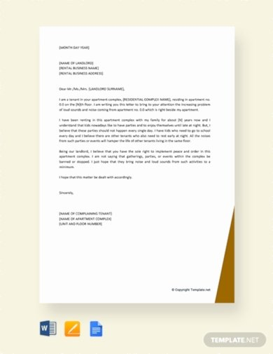 Apartment Noise Complaint Letter Sample New 10 Best Tenant Plaint Letter Examples & Templates