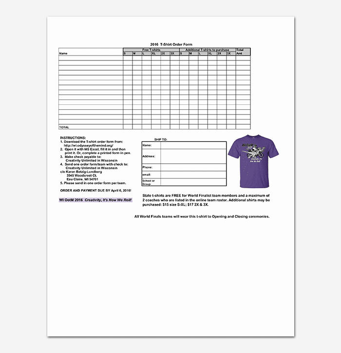 Apparel order form Template Awesome T Shirt order form Template 17 Word Excel Pdf