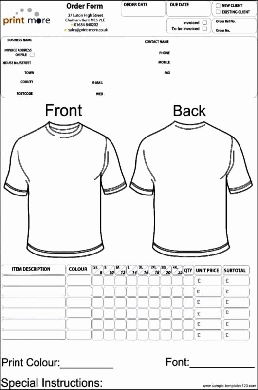 Apparel order form Template Excel Lovely Apparel order form Template