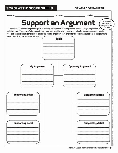 Argumentative Essay Planning Sheet Fresh Support An Argument Graphic organizer for 6th 10th Grade