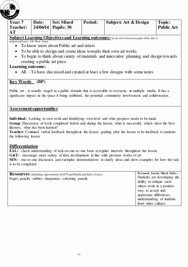 Art Lesson Plan Template Awesome Public Art and Artists Lesson Plan