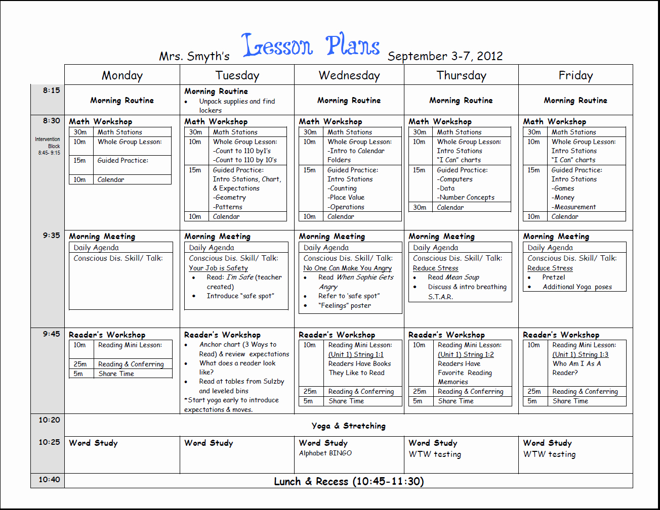Art Lesson Plan Template Fresh Free Weekly Lesson Plan Template and Teacher Resources