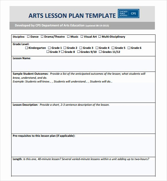Art Lesson Plan Template Lovely Sample Art Lesson Plan 8 Documents In Pdf Word
