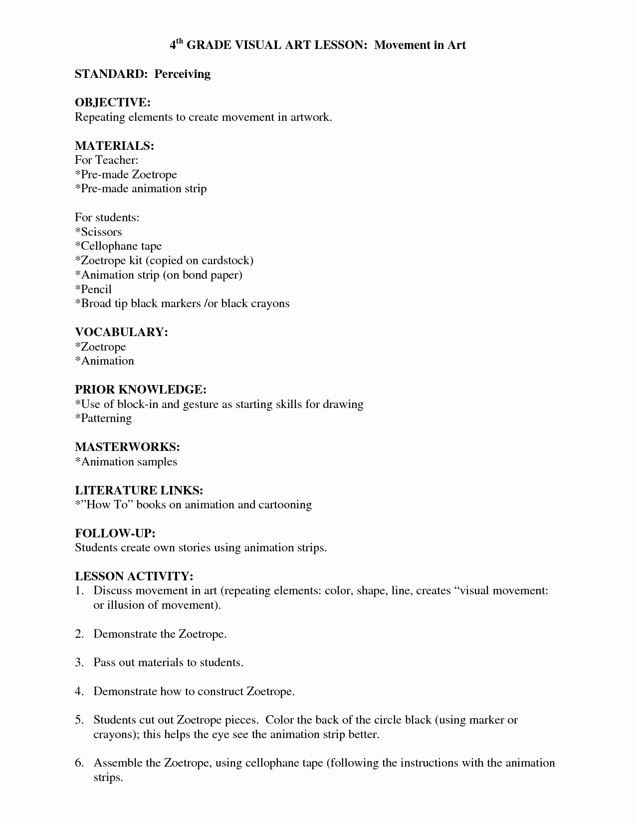 Art Lesson Plans Template Best Of Visual Arts Lesson Plan Template Visual Arts Lesson Plan Template Art Tips