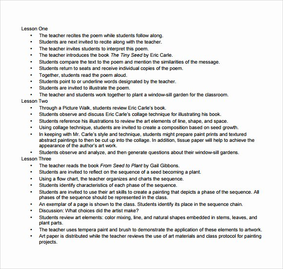 Art Lesson Plans Template Unique Art Lesson Plan Template