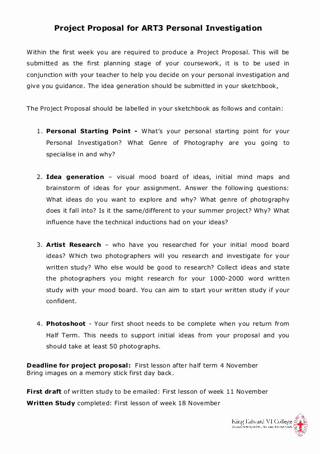 Art Project Proposal Example Best Of Project Proposal for Art3 Personal Investigation