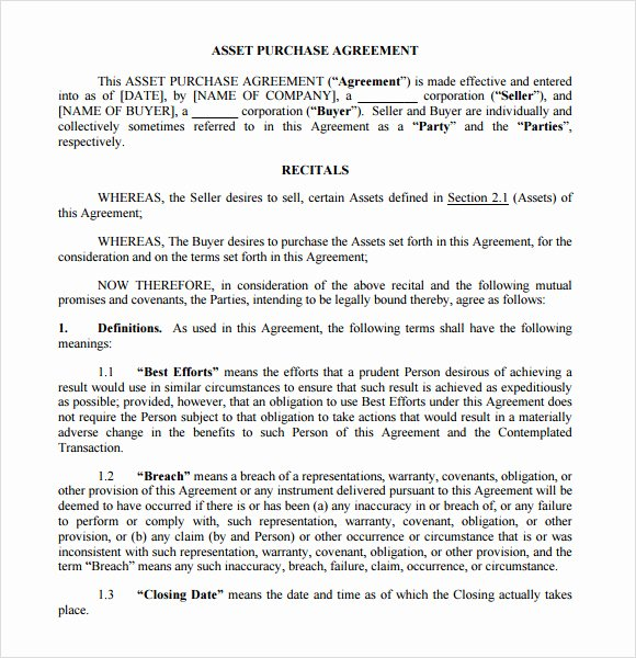Asset Purchase Agreement Pdf Awesome asset Purchase Agreement 9 Free Samples Examples format