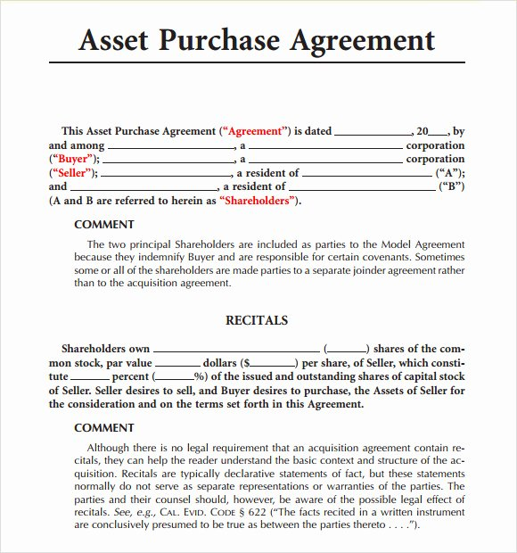 Asset Purchase Agreement Pdf Awesome Sample asset Purchase Agreement 12 Documents In Word Pdf