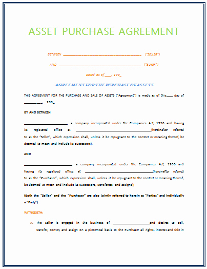 Asset Purchase Agreement Pdf Beautiful asset Purchase Agreement Template for 2015