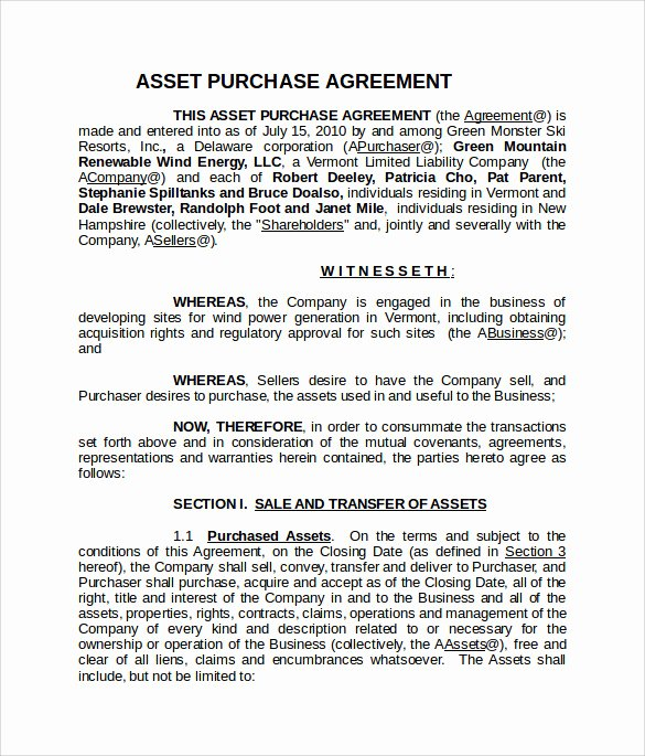 Asset Purchase Agreement Pdf Best Of asset Purchase Agreement 13 Download Documents In Pdf Word