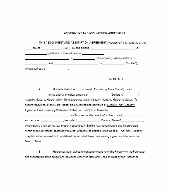 Assignment and assumption Agreement Template Inspirational 8 assignment Of Promissory Note Free Sample Example format Download