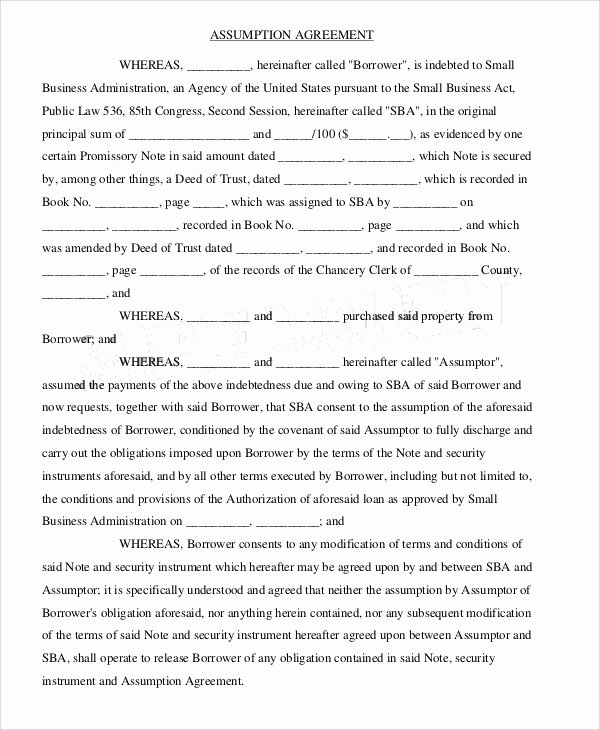 Assignment and assumption Agreement Template New assumption Agreement Templates 9 Free Word Pdf format Download