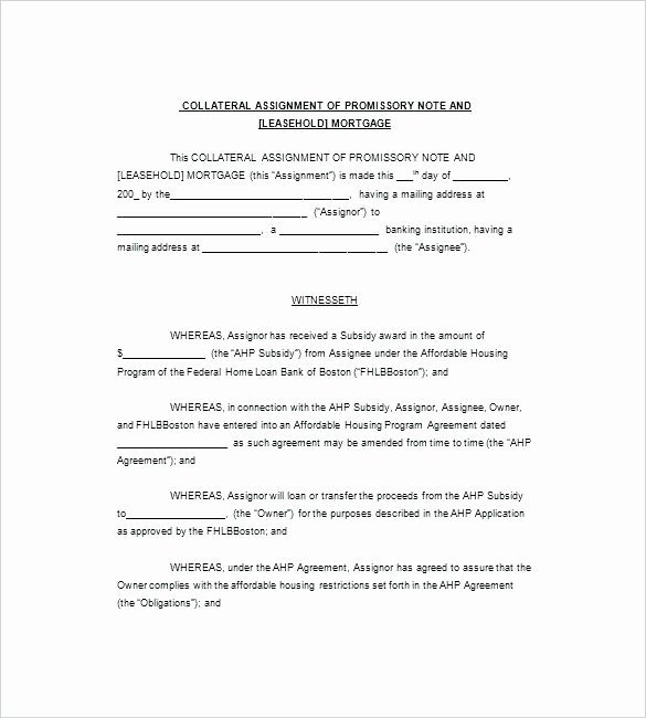 Assignment Of Promissory Note Awesome Promissory Note with Collateral Template