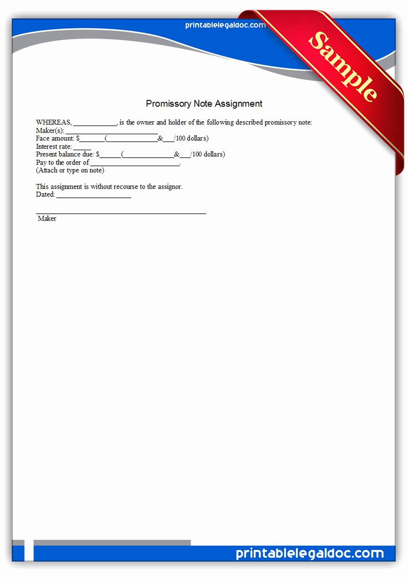 Assignment Of Promissory Note Elegant Free Printable Promissory Note assignment form Generic
