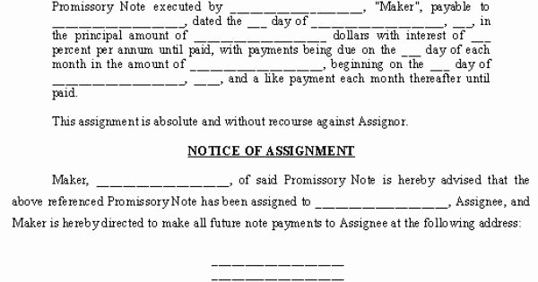 Assignment Of Promissory Note Lovely Promissory Note assignment and Notice Of assignment Template Promissory Notes