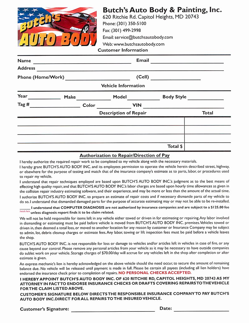 Auto Body Shop forms Awesome Repair Authorization form butchs