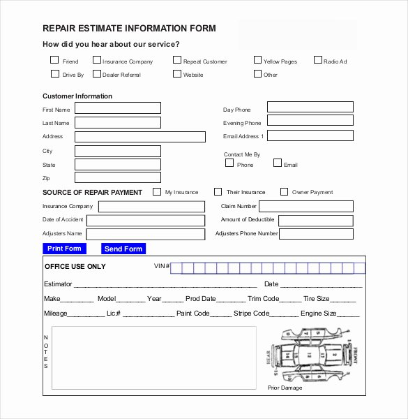 Auto Body Shop forms Beautiful Auto Repair Estimate Template Excel