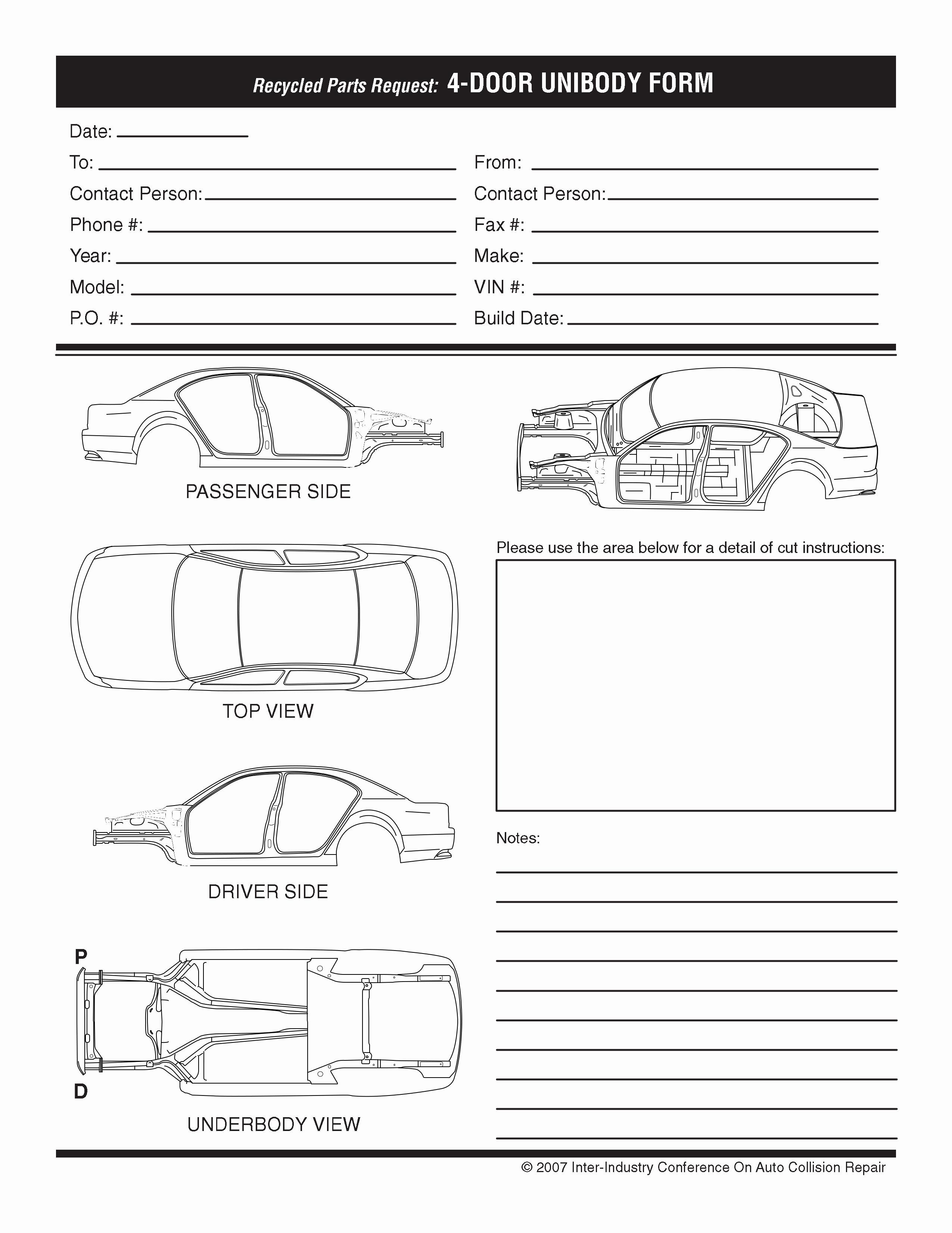 Auto Body Shop forms Luxury Vehicle Cut Sheets Baird S Auto Parts