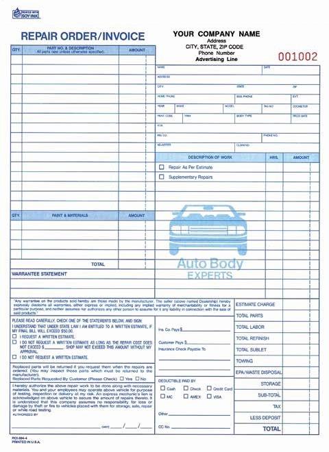 """Auto Body Shop forms Unique Mechanic Shop Invoice Part Auto Repair order Invoice Carbonless 8 1 2"""" X 11"""""""