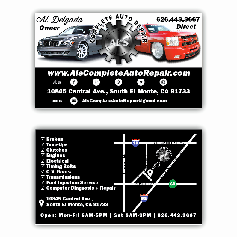 Auto Mechanic Business Card Awesome Al S Plete Auto Repair Business Cards Yelp