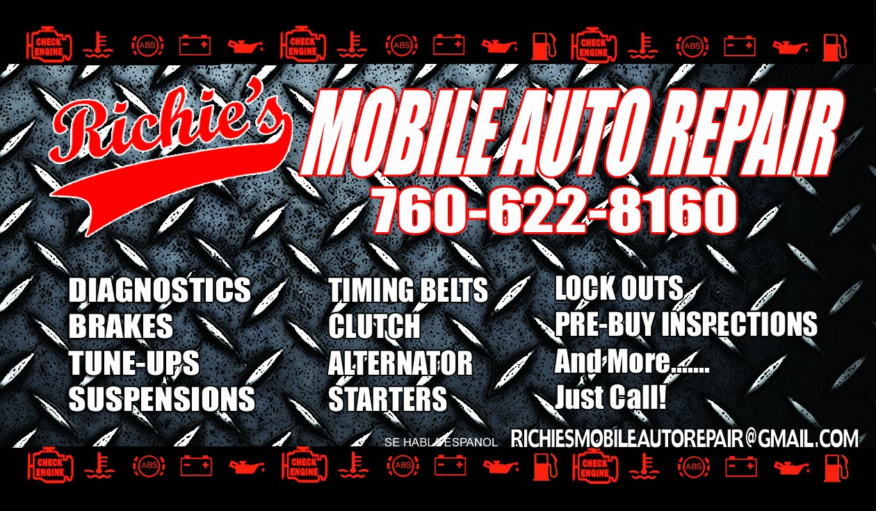 Auto Mechanic Business Card Awesome Richie S Mobile Auto Repair 760 622 8160 My Business Cards and Services