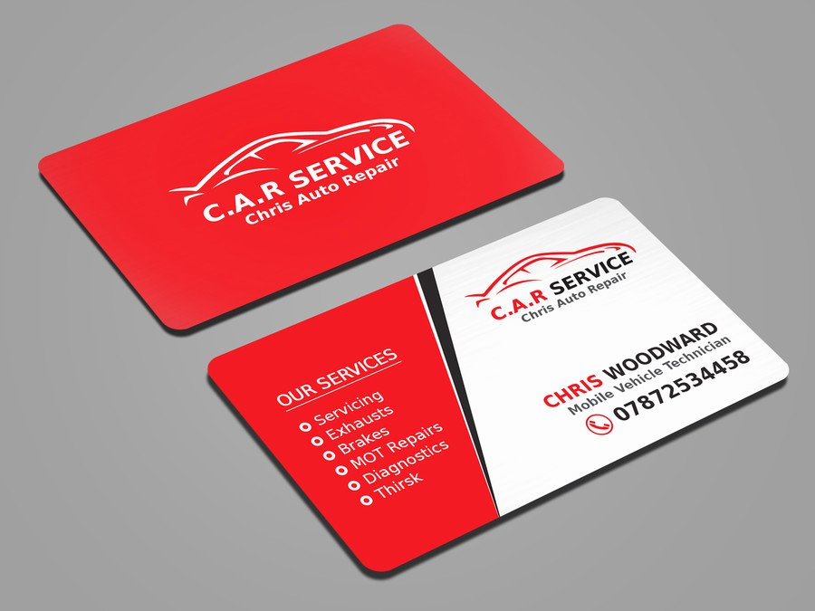 Auto Mechanic Business Cards Inspirational Entry 41 by Mahmudkhan44 for Design Car Mechanic Business