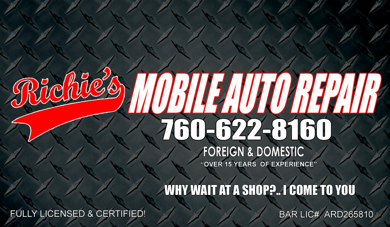 Auto Mechanic Business Cards Inspirational Richie S Mobile Auto Repair 760 622 8160 My Business